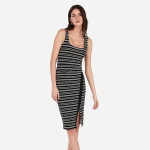 Striped Asymmetrical Button Up Bodycon Midi Dress